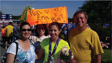 Race Entry 2017 Scholarship Winner Erin Stenzel at Finish Line